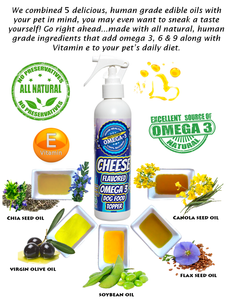 Cheese Flavored Omega 3 Spray for dry dog food