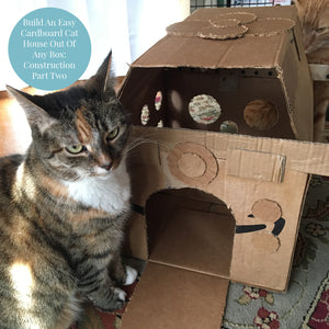 photo of a calico tabby cat sitting next to a handmade diy cat house made out of cardboard boxes. An orange tabby cat is visible behind the cardboard cat house.