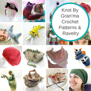 Collage of Knot By Gran'ma crochet patterns with the text Knot By Gran'ma Crochet Patterns & Ravelry