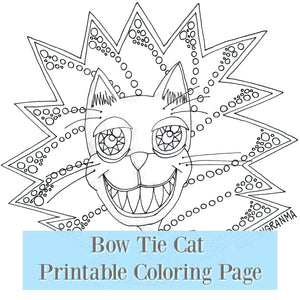 Bow Tie Cat Printable Coloring Page