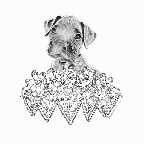 black and white coloring page of a digitized boxer puppy photo with hand drawn geometric florals underneath