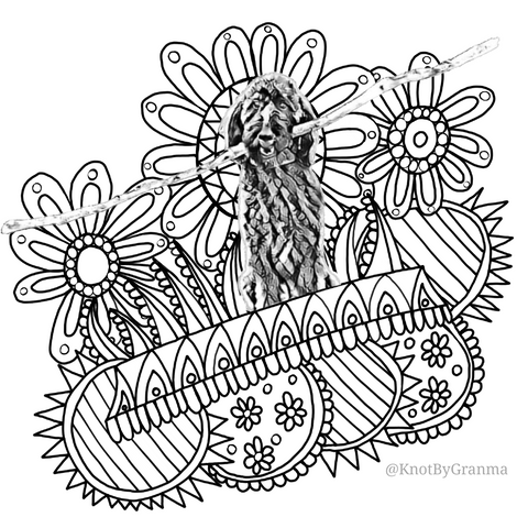 Digitized black and white photo of a labradoodle with a giant stick in her mouth over coloring page geometric and floral line drawings.