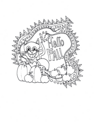 digital download hello fall cat coloring page