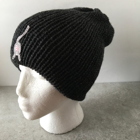 black cat butt beanie with gray cat butt by Knot By Gran'ma