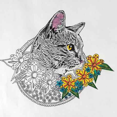 half colored in floral cat coloring page digital download