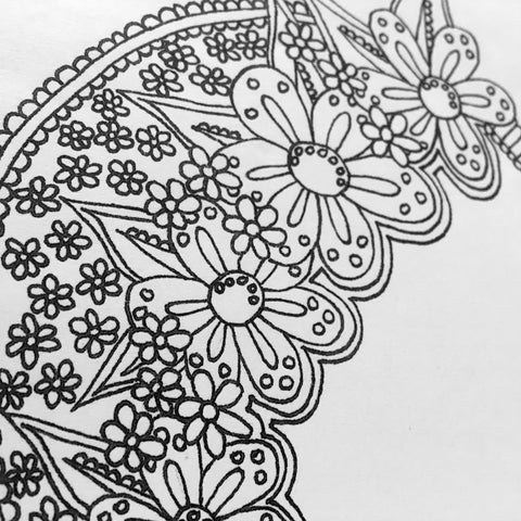 close up of one of the geometric floral coloring pages