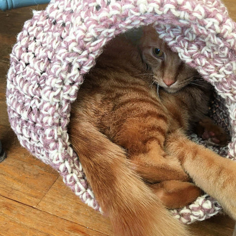 An orange tabby cat laying inside a purple and white crocheted cat cave. You can see his face peeking out behind his leg and tail which are both hanging outside of the cat cave