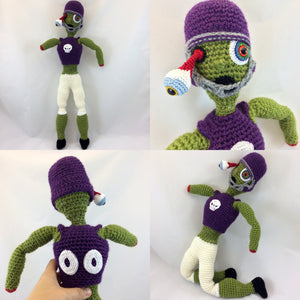 Photo collage of the large plush zombie football player doll in different poses