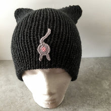 Cat Butt Beanie Black Heather Cat Ear Hat