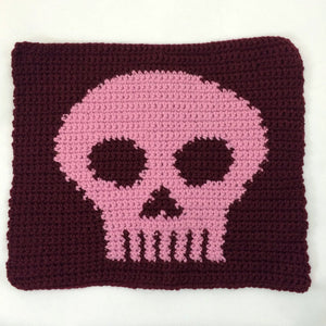 Crocheted marion square with a pink skull in the center
