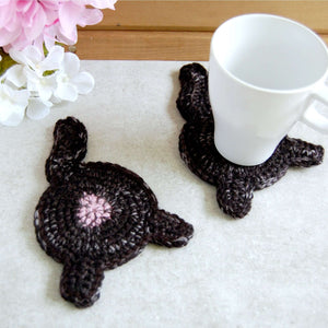 Black Cat Butt Coaster - Knot By Gran'ma