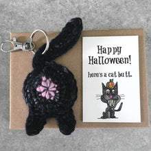 black cat butt keychain and funny Halloween card