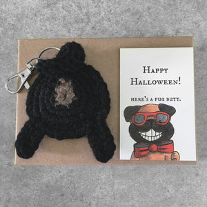 black pug butt keychain and funny Halloween card