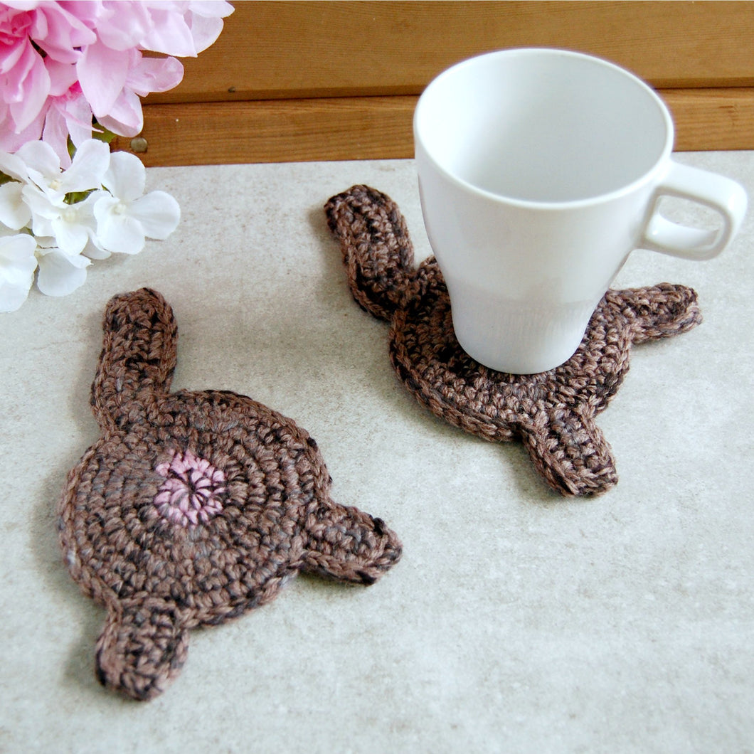 Brown Cat Butt Coaster | Funny Cat Decoration - Knot By Gran'ma