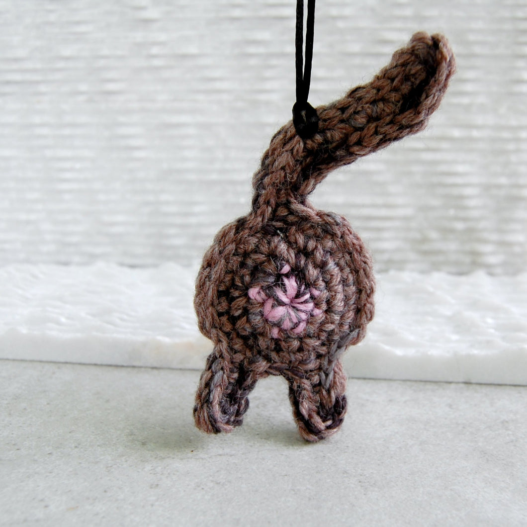 Funny Brown Cat Butt Ornament - Knot By Gran'ma