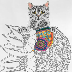 geometric flowers cat coloring page digital download