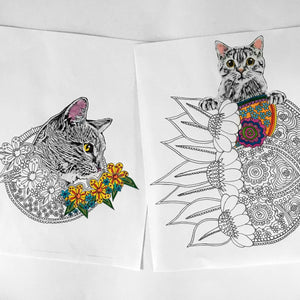floral cat coloring pages digital download