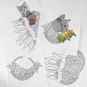 set of 4 geometric floral cat coloring pages