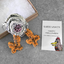chicken butt keychain and funny Halloween card