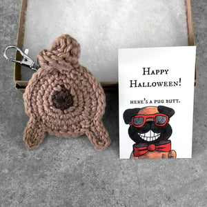fawn pug butt keychain and funny Halloween card