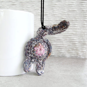 Gray Purple Cat Butt Ornament 02
