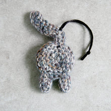 Gray Purple Cat Butt Ornament Back