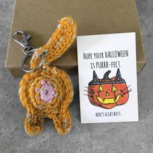orange tabby cat butt keychain and funny Halloween card
