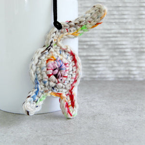 Funny Rainbow White Cat Butt Ornament - Knot By Gran'ma
