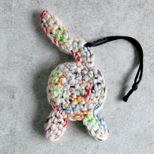 Rainbow White Cat Butt Ornament Back