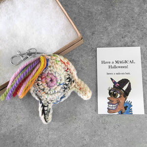 unicorn butt keychain and funny Halloween card