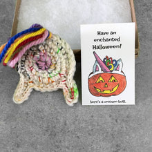 unicorn butt keychain and jack o lantern Halloween card
