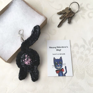 Black Cat Butt Keychain Valentine's Day Gift - Knot By Granma
