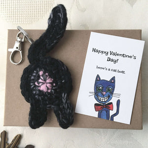 Black Cat Butt Keychain Valentine's Day Gift - Knot By Gran'ma