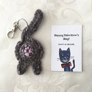 Brown Cat Butt Keychain Valentine's Day Gift - Knot By Gran'ma