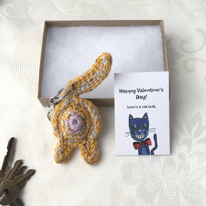 Orange Cat Butt Keychain Valentine's Day Gift - Knot By Gran'ma