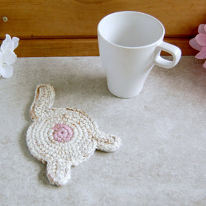 White Cat Butt Coaster | Funny Housewarming Gifts - Knot By Gran'ma