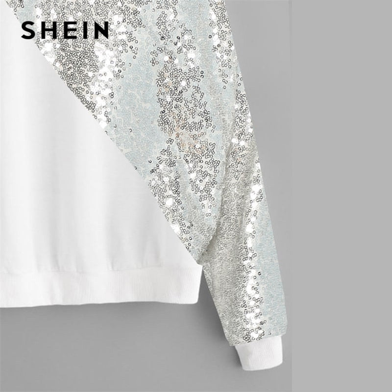aaeef318bc4 ... SHEIN White Plus Size Drop Shoulder Preppy Style Asymmetrical Sequin  Panel Women Sweatshirt Long Sleeve Autumn ...