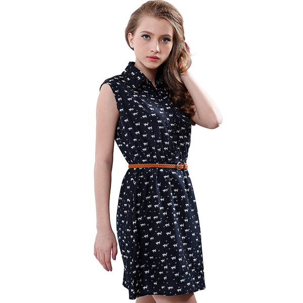 Cat Footprints Causal Dress With Belt