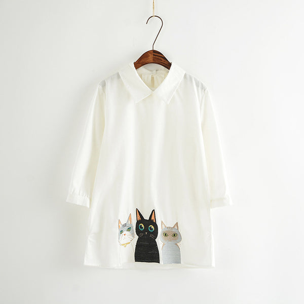 Summer 3 Cats Blouses