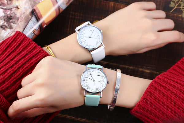 Cartoon Cat Quartz Watch with Faux Leather Strap