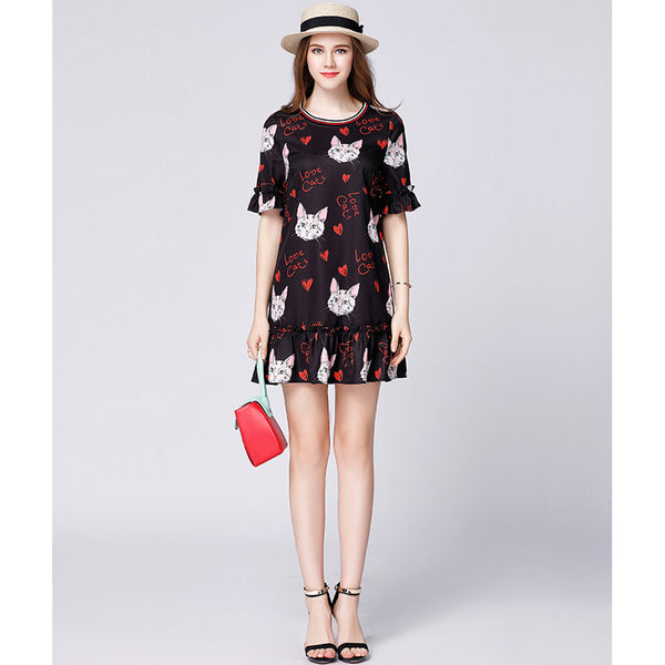 Women Chiffon Cat Butterfly Dress