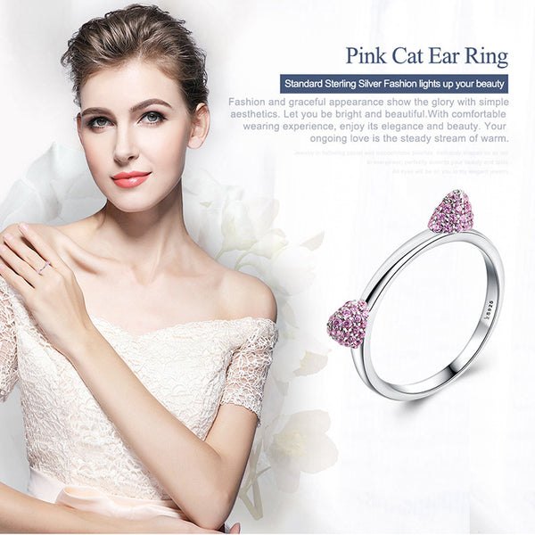 Pink Cat Ears Ring - Authentic Sterling Silver