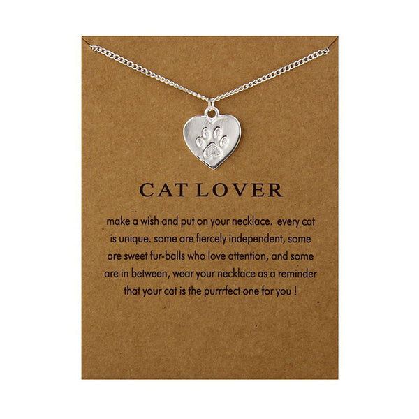 Cat Lover Kitty Paw Necklace