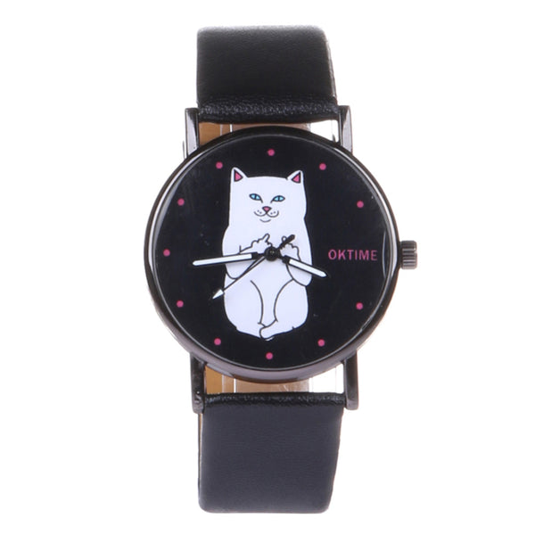Naughty Kitty Women's Watch With Black Ccrystal Dial