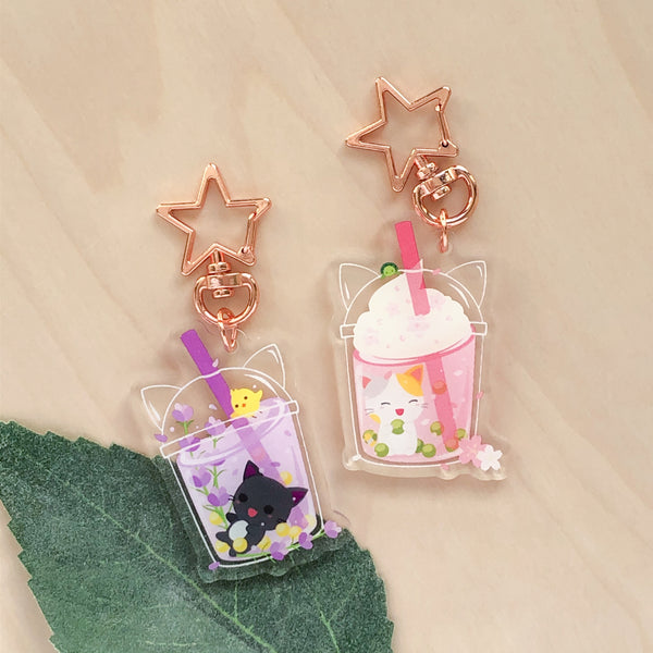 Summer Lavender Bubble Tea Acrylic Charm