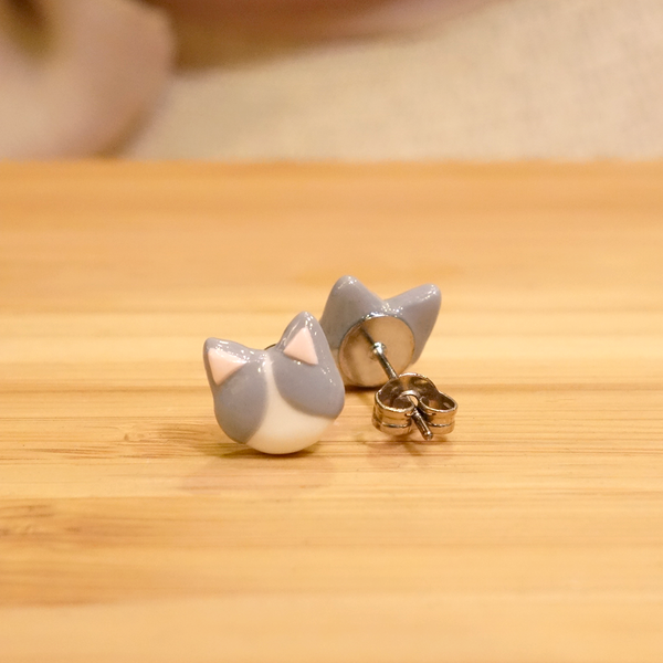 White Cat Ear Studs