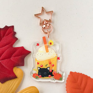 Autumn Maple Cream Bubble Tea Acrylic Charm