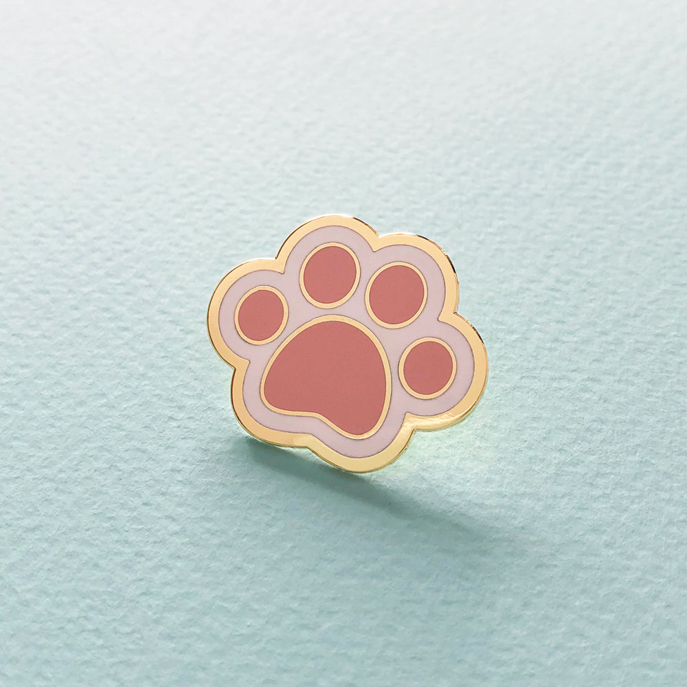 White Cat Paw Enamel Pin