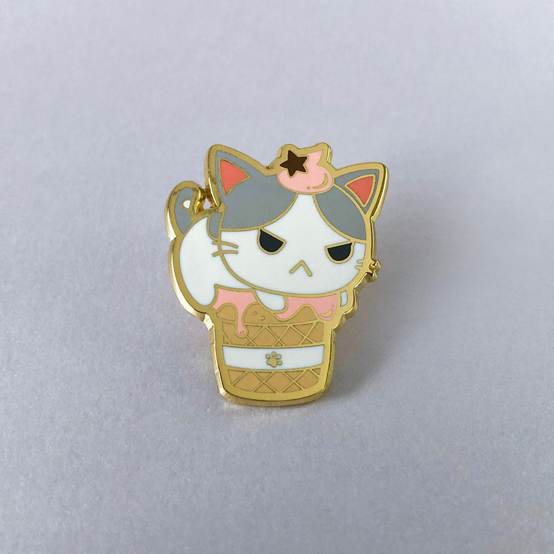 Hako Raspberry Soft Serve Enamel Pin