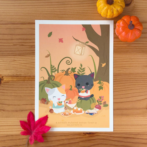 Enchanted Pawtumn Forest Art Print